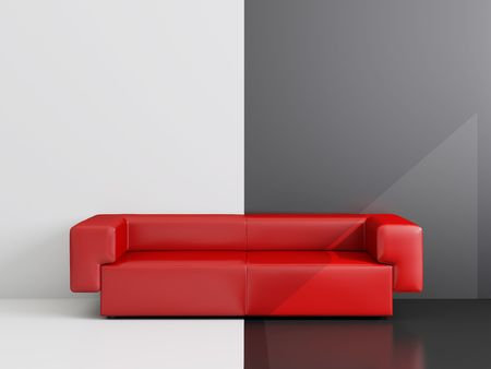 High resolution image interior.  Drawing room with a red sofa. Stock Photo - 3703879