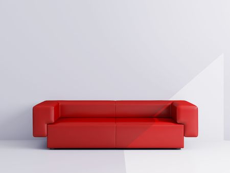 High resolution image interior.  Drawing room with a red sofa. photo
