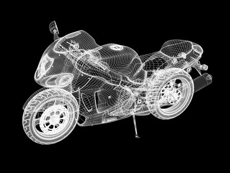 3d bike model. 3d illustration over  black backgrounds.