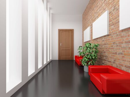 red sofa: High resolution image interior. 3d illustration. Reception with a red sofa.