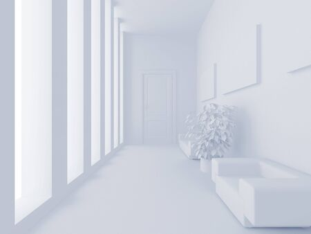 refreshment: High resolution image interior. 3d illustration. Reception with a sofa.
