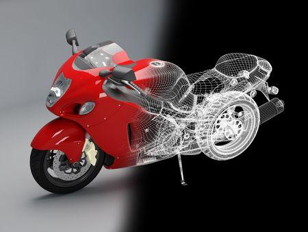 3d bike model. 3d illustration. A motorcycle illustration in studio.