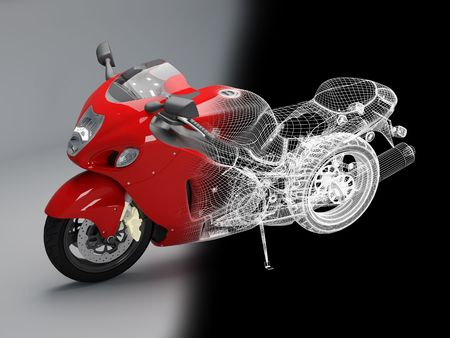 3d bike model. 3d illustration. A motorcycle illustration in studio. illustration