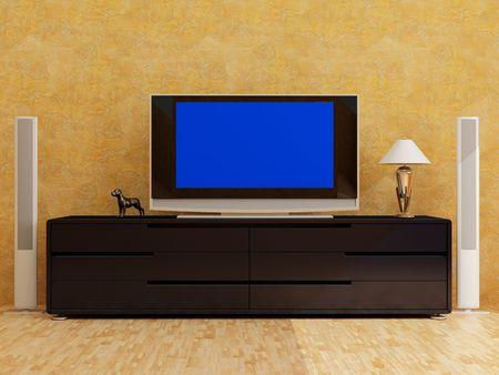 High resolution image interior. 3d illustration modern interior. The plasma TV.