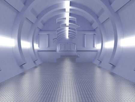 High resolution image interior spaceship. 3d illustration modern corridor. Stock Illustration - 3814008