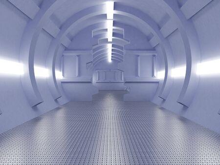 corridor: High resolution image interior spaceship. 3d illustration modern corridor.
