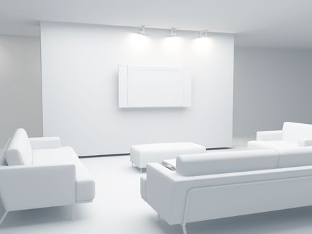 fixture: High resolution image interior. 3d illustration modern interior. The plasma TV.
