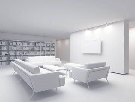 High resolution image interior. 3d illustration modern interior. The plasma TV. Stock Illustration - 3864412