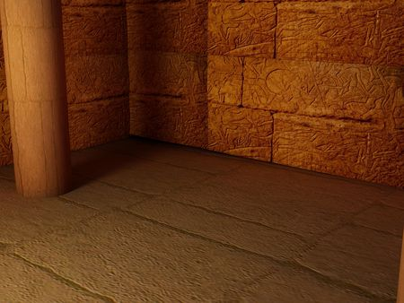 casket: High resolution image interior pyramid. Egyptian room inside an egyptian temple.