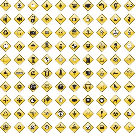scaled: This image is a vector illustration and can be scaled to any size without loss of resolution. 100 various signs.