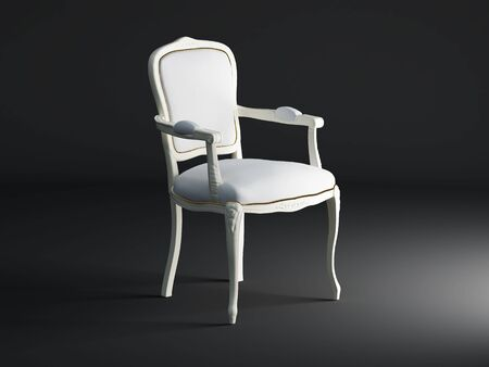 High resolution image white armchair. 3d illustration over  dark backgrounds. illustration