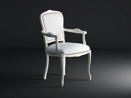 High resolution image white armchair. 3d illustration over  dark backgrounds. Stock Illustration - 3900099