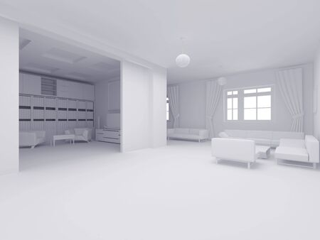 fixture: High resolution image interior. 3d illustration modern interior. Apartments white colour. Stock Photo