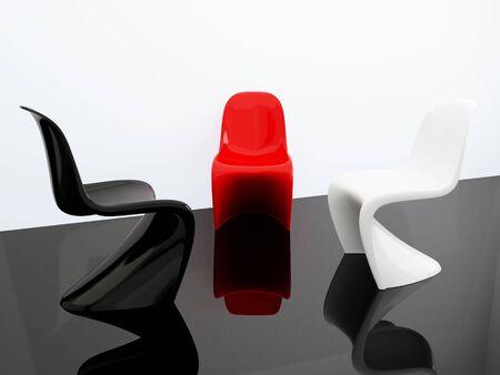 Three armchairs. 3d illustration modern interior. Living room. illustration