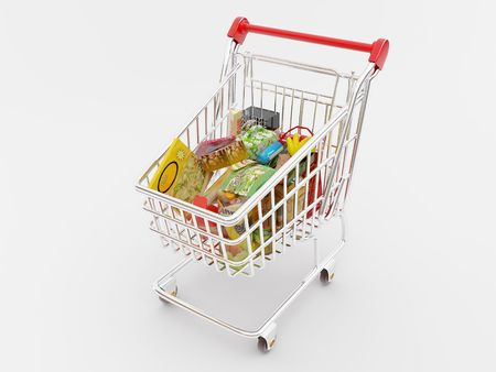 3d pizza: High resolution image shopping cart. 3d illustration over white backgrounds. Stock Photo