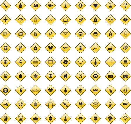 scaled: This image is a vector illustration and can be scaled to any size without loss of resolution. 80 various signs.