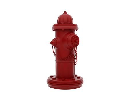 borne fontaine: Vintage Hydrant rouge feu isol� sur blanc. Image haute r�solution.