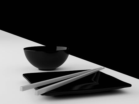ware: The Japanese ware of black colour. High resolution image. 3d illustration.