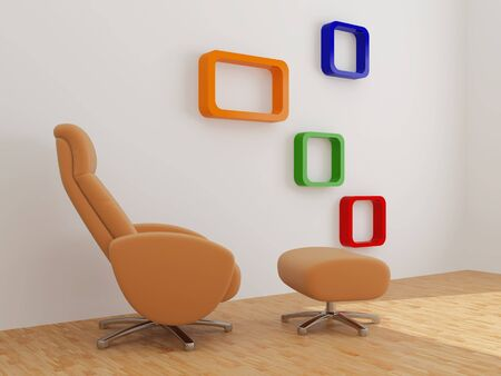 High resolution image interior. 3d illustration modern interior. Armchair with a support.  illustration