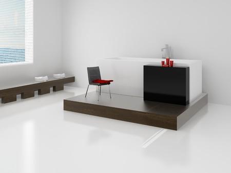 Designer bathroom. High resolution image inter. A bathroom in modern style. 3d illustration. Stock Illustration - 4094902