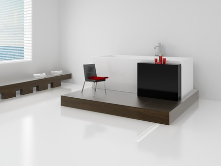 Designer bathroom. High resolution image interior. A bathroom in modern style. 3d illustration. Stock Illustration - 4094902