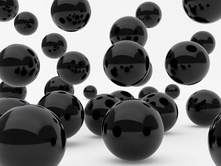High resolution image black spheres. 3d illustration over  white backgrounds. Stock Photo