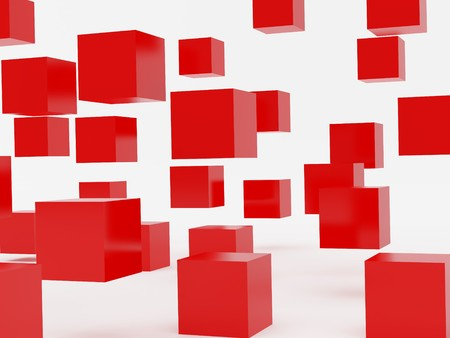 falling cubes: Falling cubes of red colour. High resolution image. 3d illustration over  white backgrounds. Stock Photo