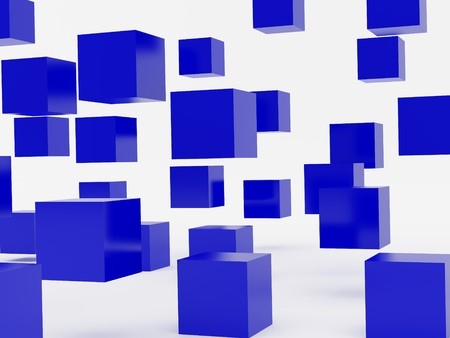 falling cubes: Falling cubes of blue colour. High resolution image. 3d illustration over  white backgrounds.