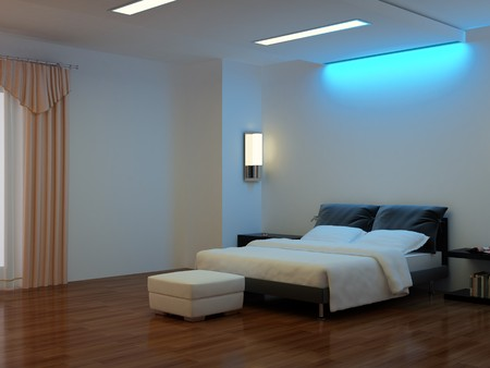 fixture: High resolution image interior. A bed in a bedroom.