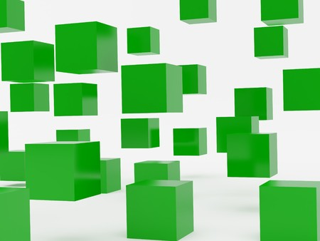 falling cubes: Falling cubes of green colour. High resolution image. 3d illustration over  white backgrounds. Stock Photo
