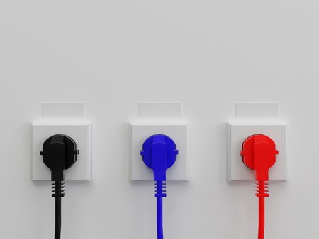 jackplug: 3d illustration electric socket. High resolution image. Electric cable. Stock Photo