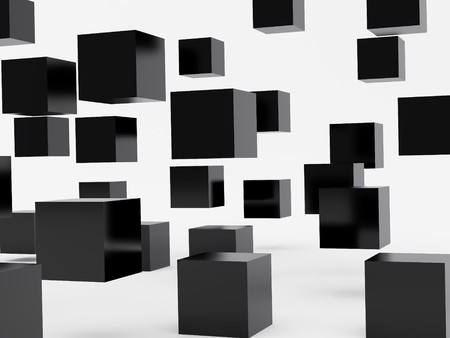falling cubes: Falling cubes of black colour. High resolution image. 3d illustration over  white backgrounds.