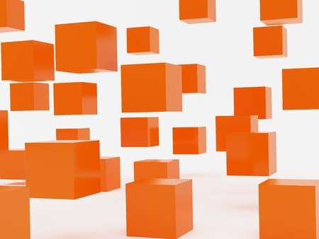 falling cubes: Falling cubes of orange colour. High resolution image. 3d illustration over  white backgrounds. Stock Photo