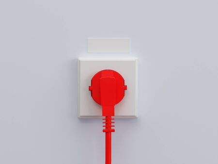 detachable: 3d illustration electric socket. High resolution image. Electric cable. Stock Photo