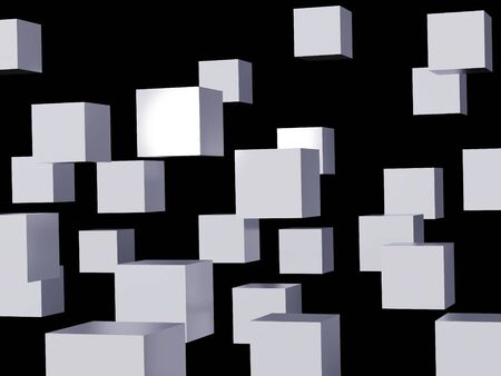 falling cubes: Falling cubes of white colour. High resolution image. 3d illustration over  black backgrounds. Stock Photo