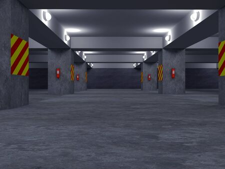 High resolution image automobile parking. 3d illustration. Underground parking. illustration