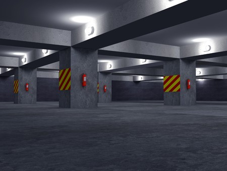 under fire: Imagen de alta resoluci�n de estacionamiento de autom�viles. 3d illustration. Estacionamiento subterr�neo. Foto de archivo