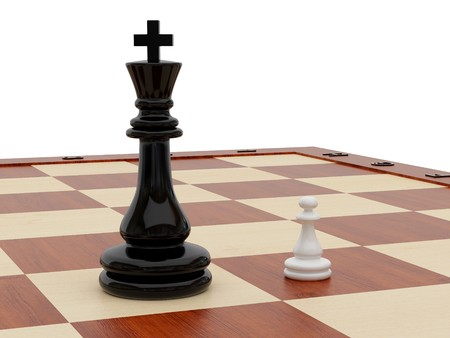 subordinated: High resolution image chess on a white background. 3d illustration. Stock Photo