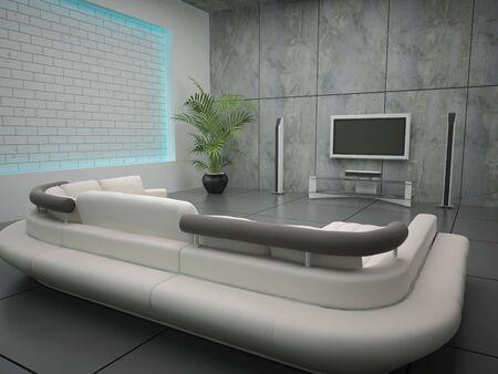 living room wall: High resolution image interior. 3d illustration modern interior. Living room.