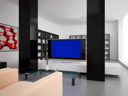 snooker rooms: High resolution image interior. 3d illustration modern interior. Living room.