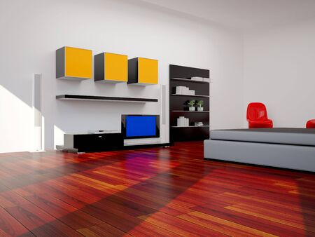 High resolution image interior. 3d illustration modern interior. Bed room. illustration