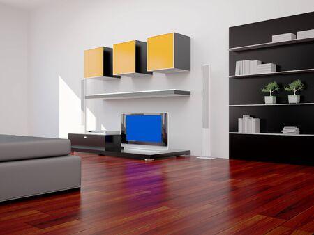 book case: High resolution image interior. 3d illustration modern interior. Bed room. Stock Photo
