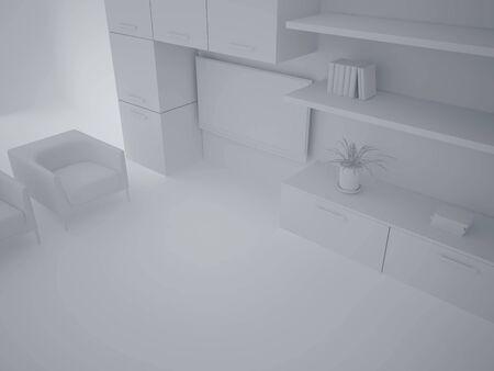 High resolution image interior. 3d illustration modern interior. Living room. Stock Illustration - 4716247