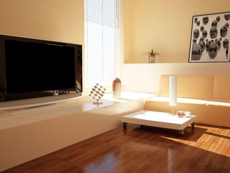 High resolution image interior. 3d illustration modern interior. Living room.