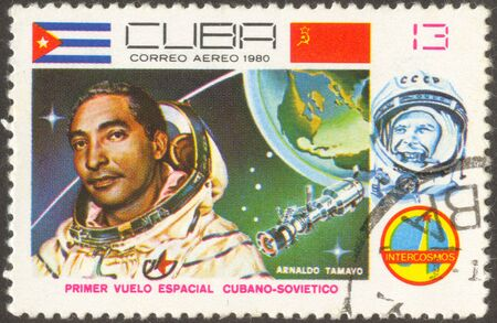 The first Cuban cosmonaut. The scanned stamp. Planet the Earth.