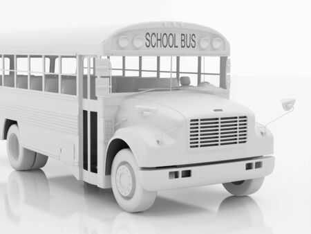 flashers: De alta resoluci�n de imagen del autob�s escolar. 3d illustration. Renderizado. Foto de archivo