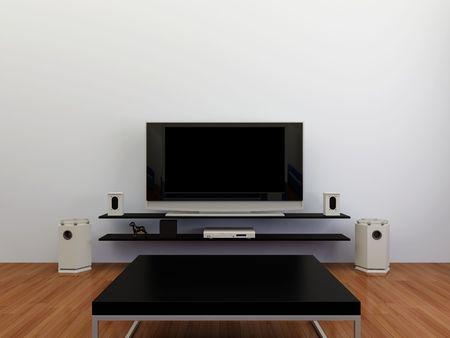 dvd room: High resolution image interior. 3d illustration modern interior.