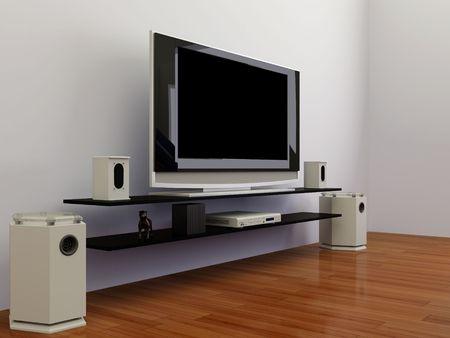 dvd room: High resolution image interior. 3d illustration modern interior. The plasma TV.