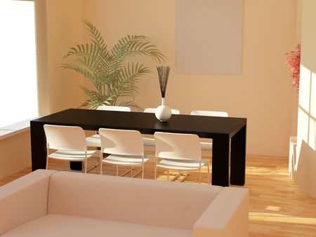 High resolution image interior. 3d illustration modern interior.