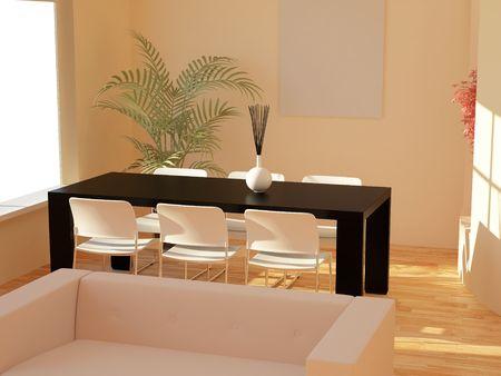 High resolution image interior. 3d illustration modern interior.